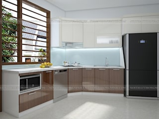 Công trình tủ bếp inox cánh gỗ acrylic và nội thất gỗ An Cường nhà anh Toản – Lạng Sơn Nội thất Hpro KitchenCabinets & shelves Multicolored
