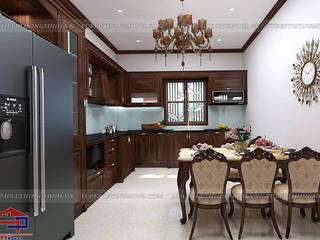 Công trình tủ bếp gỗ óc chó nhà chị Hiền – Mỹ Hào, Hưng Yên Nội thất Hpro KitchenCabinets & shelves Wood effect