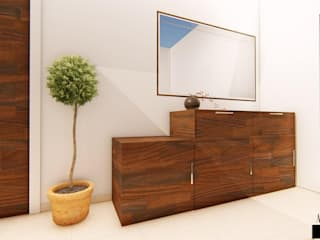 3 BHK for an NRI Client at Hyderabad, India Minimalist living room by Aikaa Designs Minimalist