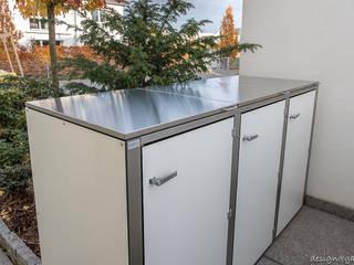 Mülltonnenbox @boxx in Hanover, Farbe: Weiß:  Vorgarten von design@garten - Alfred Hart -  Design Gartenhaus und Balkonschraenke aus Augsburg