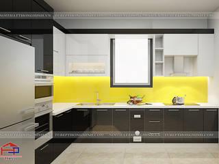 Công trình tủ bếp acrylic và nội thất phòng ngủ gỗ công nghiệp An Cường nhà chị Hiền ở Nam Định Nội thất Hpro KitchenCabinets & shelves Multicolored