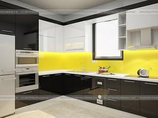 Công trình tủ bếp acrylic và nội thất phòng ngủ gỗ công nghiệp An Cường nhà chị Hiền ở Nam Định: hiện đại  by Nội thất Hpro, Hiện đại