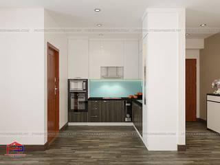 Thi công tủ bếp acrylic và nội thất gỗ An Cường nhà anh Điệp – C14 Bắc Hà, Tố Hữu Nội thất Hpro KitchenCabinets & shelves Multicolored