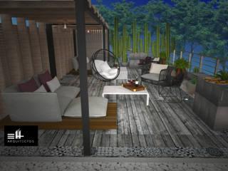 Casa Lomas Balcones y terrazas modernos de EH ARQUITECTOS Moderno