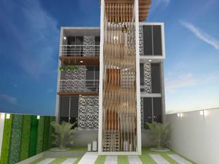 Fachada de acceso al condominio: Condominios de estilo  por EH ARQUITECTOS