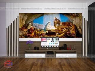 Hoàn thiện nội thất Phòng khách – Phòng ngủ gỗ melamine An Cường nhà anh Năng – Nam Định Nội thất Hpro Living roomTV stands & cabinets Multicolored