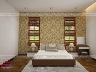 Hoàn thiện nội thất Phòng khách – Phòng ngủ gỗ melamine An Cường nhà anh Năng – Nam Định: hiện đại  by Nội thất Hpro, Hiện đại