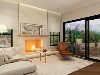 Apartamento em Moema, São Paulo: Salas de estar  por Liliana Zenaro Interiores,