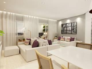 Apartamento na Vila Mariana, São Paulo: Salas de estar  por Liliana Zenaro Interiores,