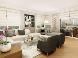 Apartamento clássico na Vila Nova Conceição, São Paulo: Salas de estar  por Liliana Zenaro Interiores,