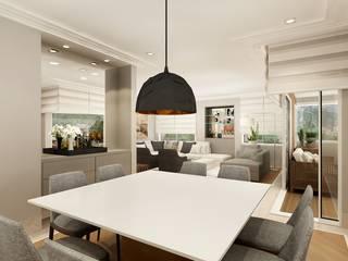 Apartamento clássico na Vila Nova Conceição, São Paulo: Salas de jantar  por Liliana Zenaro Interiores,