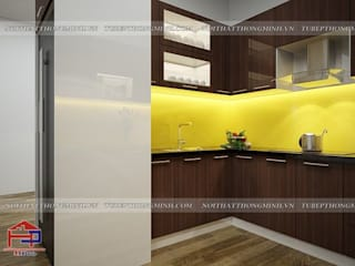 Thi công tủ bếp acrylic và nội thất gỗ An Cường hiện đại nhà chị Giang- Quảng Ninh Nội thất Hpro KitchenCabinets & shelves Multicolored