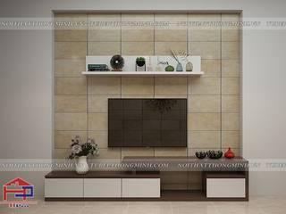 Thi công tủ bếp acrylic và nội thất gỗ An Cường hiện đại nhà chị Giang- Quảng Ninh Nội thất Hpro Living roomTV stands & cabinets Multicolored