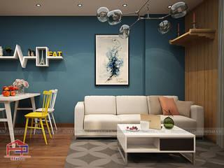 Hoàn thiện tủ bếp acrylic và nội thất gỗ công nghiệp An Cường nhà chị Hường ở căn 2302 Chung cư Hà Nội Center Point Nội thất Hpro Living roomSofas & armchairs Multicolored