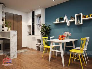 Hoàn thiện tủ bếp acrylic và nội thất gỗ công nghiệp An Cường nhà chị Hường ở căn 2302 Chung cư Hà Nội Center Point: hiện đại  by Nội thất Hpro, Hiện đại