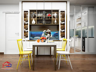 Thiết kế và thi công tủ bếp acrylic và nội thất gỗ melamine An Cường nhà anh Đức ở căn 12A02 tòa A1 Ecolife Capitol Tố Hữu Nội thất Hpro Dining roomWine racks Multicolored