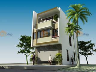 Mẫu thiết kế nhà phố đẹp 6,5x15m tại Đông Anh – NP 133 bởi CÔNG TY CỔ PHẦN XD&TM KIẾN TẠO VIỆT Châu Á