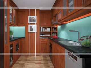 Công trình tủ bếp gỗ xoan đào và nội thất gỗ tự nhiên nhà anh Trọng ở Linh Đàm Nội thất Hpro KitchenCabinets & shelves Wood effect