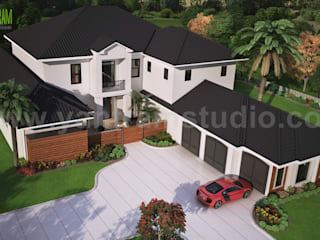 Modern 3D Exterior Rendering (top view) with brown metal roof House by Yantram Architectural Visualisation Studio, Washington - USA:  Multi-Family house by Yantram Architectural Design Studio