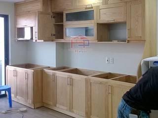 Hoàn thiện tủ bếp gỗ sồi nga nhà cô Huyền – P1706 tòa B Chung cư 219 Trung Kính Nội thất Hpro KitchenCabinets & shelves Wood effect
