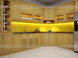 Công trình tủ bếp gỗ sồi mỹ nhà anh Lệ – 154 Minh Khai Nội thất Hpro KitchenCabinets & shelves Wood effect