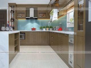 Tủ bếp gỗ sồi mỹ đẹp hiện đại nhà anh Việt- Phan Đình Phùng- Tp.Thái Nguyên Nội thất Hpro KitchenCabinets & shelves Wood effect