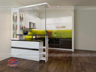 Hoàn thiện tủ bếp acrylic kèm quầy bar hiện đại nhà anh Tân- Thạch Bàn Nội thất Hpro KitchenCabinets & shelves Multicolored