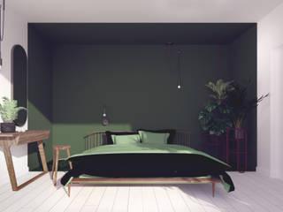 zielona sypialnia urban jungle od Pracownia Zew Eklektyczny