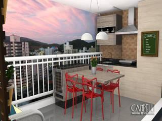 Terraço gourmet Varandas, alpendres e terraços modernos por Campelli Móveis Sob Medida Moderno