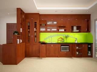 Thi công tủ bếp gỗ xoan đào nhà chị Loan ở Thụy Khuê Nội thất Hpro KitchenCabinets & shelves Wood effect