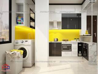 Công trình tủ bếp acrylic và nội thất gỗ công nghiệp An Cường nhà chị Ngọc ở Chùa Láng Nội thất Hpro KitchenCabinets & shelves Multicolored