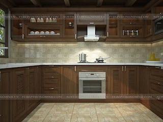 Khách hàng nước ngoài hài lòng 100% về công trình tủ bếp gỗ sồi mỹ do Hpro thi công Nội thất Hpro KitchenCabinets & shelves Wood effect