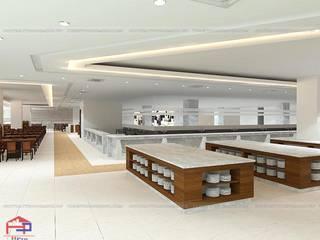 Thiết kế thi công nội thất gỗ laminate nhà hàng Buffet Poseidon cơ sở 2 tại Tầng 4 tòa Artemis, Số 3 Lê Trọng Tấn Nội thất Hpro Office spaces & stores Wood effect