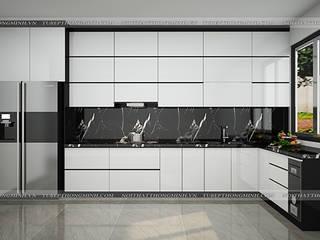 Công trình tủ bếp acrylic nhà anh Thành – Tuyên Quang đẹp – sang – tiện ích Nội thất Hpro KitchenCabinets & shelves Multicolored
