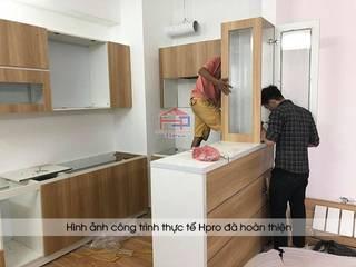 Hoàn thiện tủ bếp laminate kèm quầy bar tiện ích nhà anh Lộc – N07B3 Dịch Vọng – Cầu Giấy Nội thất Hpro KitchenCabinets & shelves Wood effect