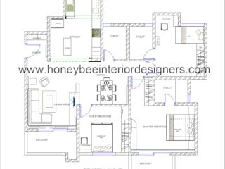 3 BHK Apartment for a young couple by Honeybee Interior Designers