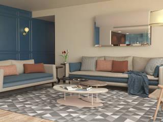 DPTO KAANALI: Salas de estilo  por Simple Mob sa de cv