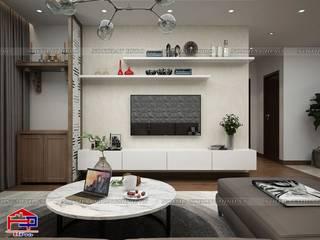Tủ bếp acrylic và tổng thể nội thất gỗ công nghiệp An Cường cùng gỗ tự nhiên căn 2510 tòa Ruby1 Goldmark City do Hpro thiết kế và thi công Nội thất Hpro Living roomTV stands & cabinets White