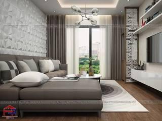 Tủ bếp acrylic và tổng thể nội thất gỗ công nghiệp An Cường cùng gỗ tự nhiên căn 2510 tòa Ruby1 Goldmark City do Hpro thiết kế và thi công Nội thất Hpro Living roomSofas & armchairs Grey