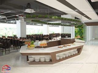 Công trình nội thất gỗ laminate nhà hàng Buffet Poseidon- 85 Lê Văn Lương do Hpro thiết kế và thi công : hiện đại  by Nội thất Hpro, Hiện đại