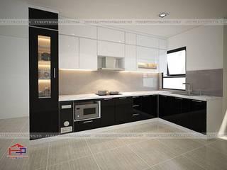 Không gian sống hiện đại với tủ bếp acrylic và nội thất gỗ công nghiệp An Cường nhà anh Thảo- Ngoại Giao Đoàn Nội thất Hpro KitchenCabinets & shelves Multicolored