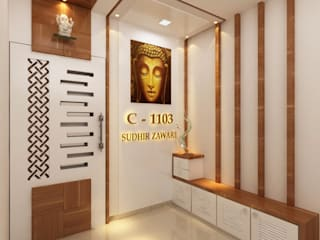 Sudhir Zaware's Residence interior:  Corridor & hallway by Square 4 Design & Build,