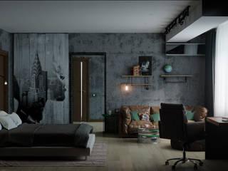 Дизайн-проект квартиры 153м2 в стиле лофт: Спальни в . Автор – ТОО 'ПРОФИТ',