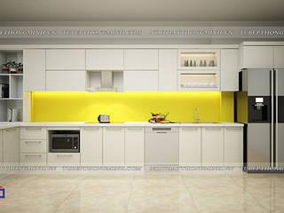 Công trình tủ bếp acrylic kèm tủ rượu nhà chị Thu – 554/8 Nguyễn Văn Cừ: hiện đại  by Nội thất Hpro, Hiện đại