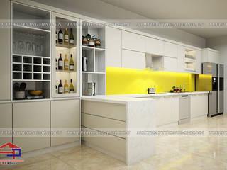 Công trình tủ bếp acrylic kèm tủ rượu nhà chị Thu – 554/8 Nguyễn Văn Cừ Nội thất Hpro KitchenCabinets & shelves White