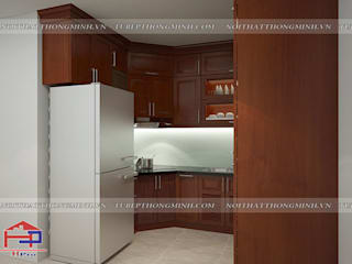 Thi công tủ bếp gỗ xoan đào nhà anh Hùng – Long Biên: hiện đại  by Nội thất Hpro, Hiện đại