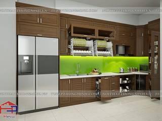 Sự sang trọng và tiện nghi từ bộ tủ bếp gỗ sồi mỹ nhà anh Phương – Đức Giang Nội thất Hpro KitchenCabinets & shelves Wood effect