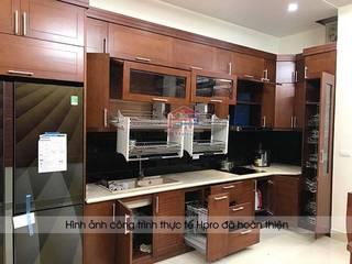 Sự sang trọng và tiện nghi từ bộ tủ bếp gỗ sồi mỹ nhà anh Phương – Đức Giang Nội thất Hpro KitchenCabinets & shelves Multicolored