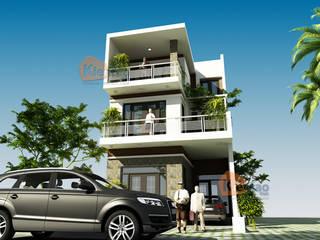Biệt thự phố hiện đại 3 tầng ban công ấn tượng tại Hương Yên – BT 100 bởi CÔNG TY CỔ PHẦN XD&TM KIẾN TẠO VIỆT Hiện đại