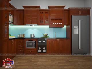 Hpro thi công tủ bếp gỗ xoan đào tân cổ điển nhà anh Mạnh ở Hà Đông Nội thất Hpro KitchenCabinets & shelves Wood effect